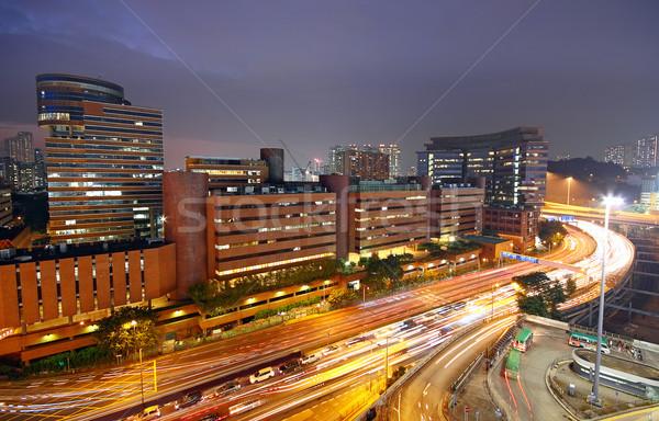Centro de la ciudad nocturna de la ciudad oficina ciudad construcción puesta de sol Foto stock © cozyta