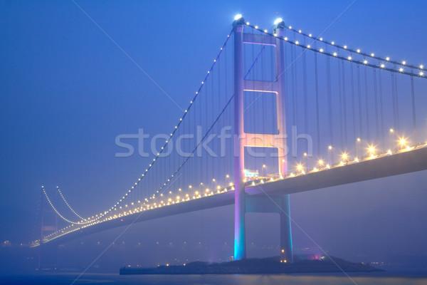 night scene of Tsing Ma bridge  Stock photo © cozyta