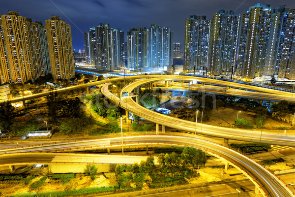 aerial view of the city overpass at night, HongKong, Asia Stock photo © cozyta