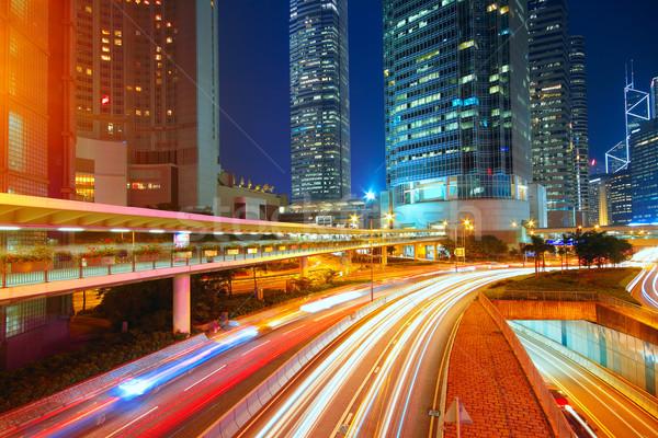 Centro de la ciudad nocturna de la ciudad coche edificio luz calle Foto stock © cozyta