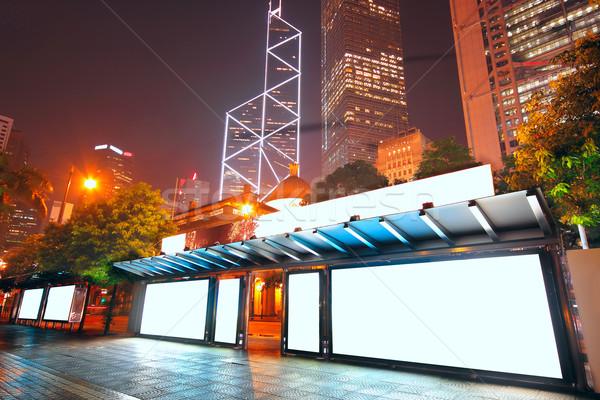 Ilan panosu otobüs durağı gece sokak imzalamak uzay Stok fotoğraf © cozyta