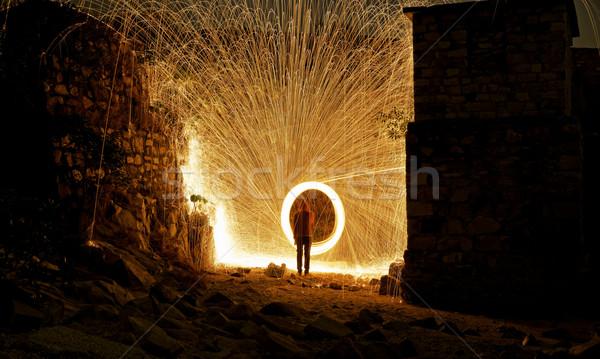 Burning steel wool fireworks  Stock photo © cozyta