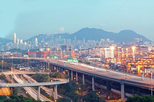 Hong Kong brug vervoer container pier hemel Stockfoto © cozyta