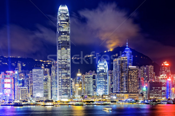 hong kong office buildings at night Stock photo © cozyta