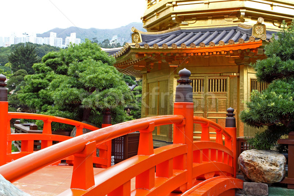 Stok fotoğraf: Mükemmellik · bahçe · Hong · Kong · şehir · turuncu · mavi