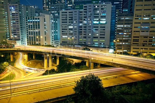 Zdjęcia stock: Kolorowy · Night · City · budynków · most · samochodu · drogowego