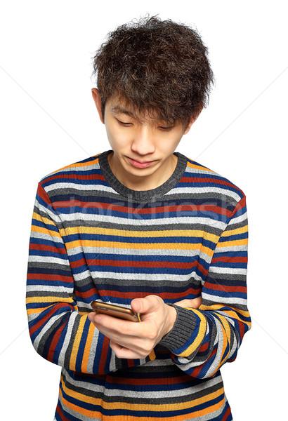 Stok fotoğraf: Genç · cep · telefonu · beyaz · telefon · adam