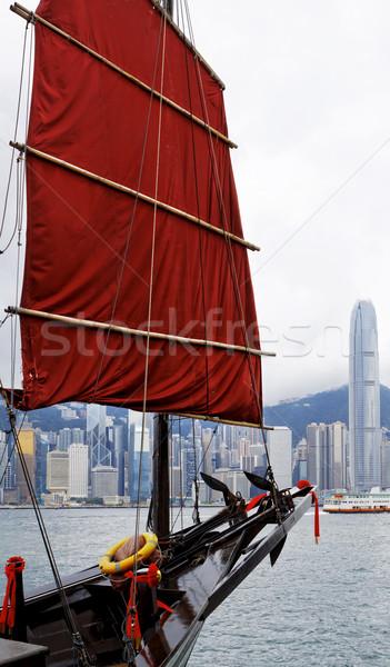 Photo stock: Voilier · orange · bois · voile · port · Hong-Kong