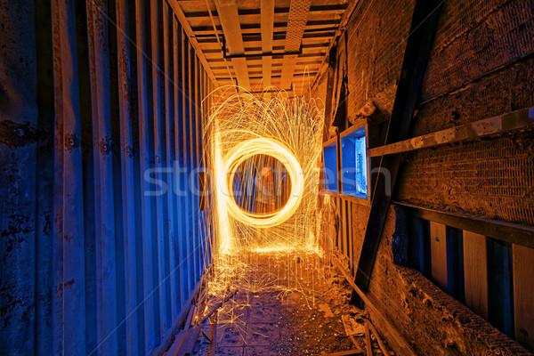 égő acél gyapjú izzó szikrák pörgés Stock fotó © cozyta