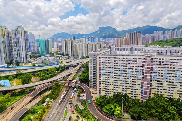 hong kong public estate with landmark lion rock Stock photo © cozyta