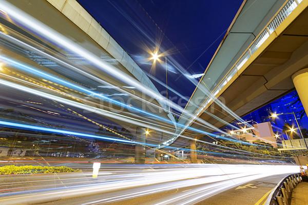 Foto stock: Ocupado · tráfico · noche · financiar · urbanas · cielo