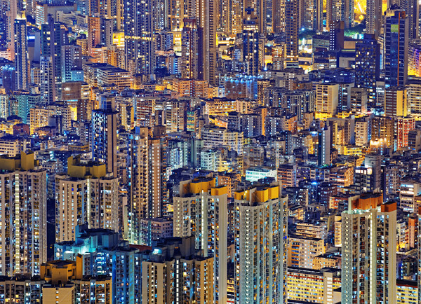 Hong-Kong public vie centre-ville nuit logement Photo stock © cozyta