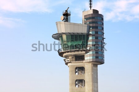 air traffic control tower at an airport on a stormy looking day. Stock photo © cozyta