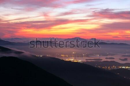 Tramonto montagna foresta natura terra bellezza Foto d'archivio © cozyta