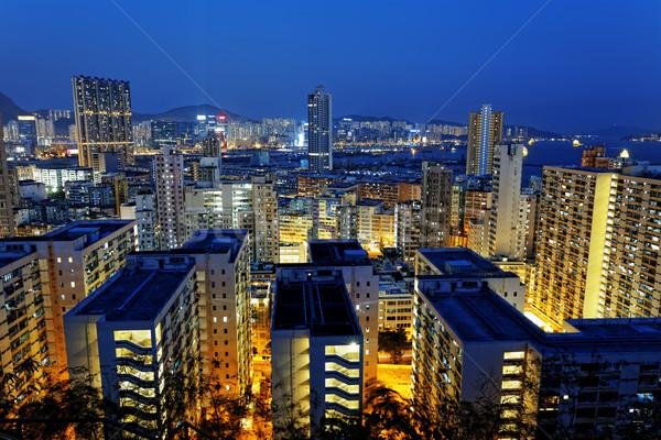 Hongkong Night City mieszkaniowy budynku budowy ulicy Zdjęcia stock © cozyta