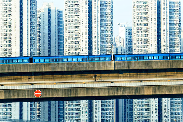 sky train and track system in a modern neighborhood Stock photo © cozyta