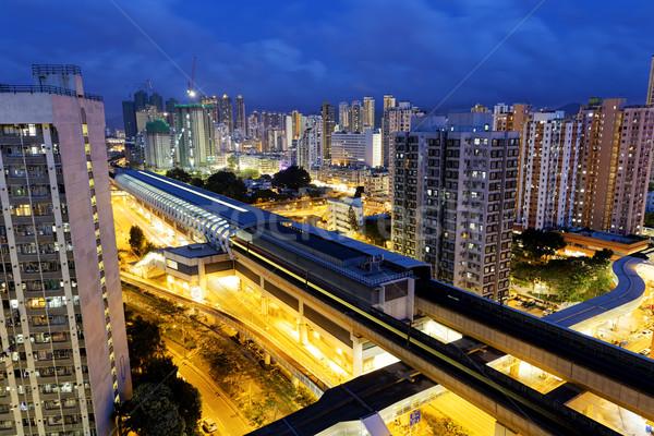 Сток-фото: Гонконг · городского · центра · поезд · ночь