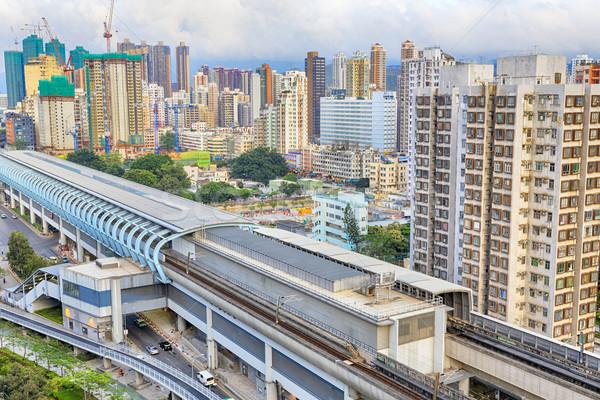 Гонконг городского центра закат скорости поезд Сток-фото © cozyta