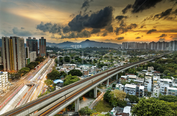 hong kong urban downtown and sunset speed train, Long Ping Stock photo © cozyta