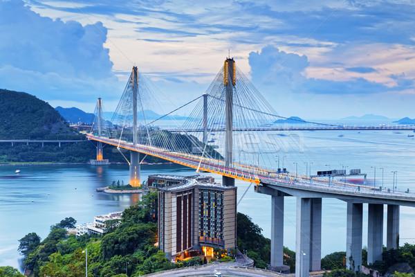Hong Kong verkeer snelweg business gebouw licht Stockfoto © cozyta