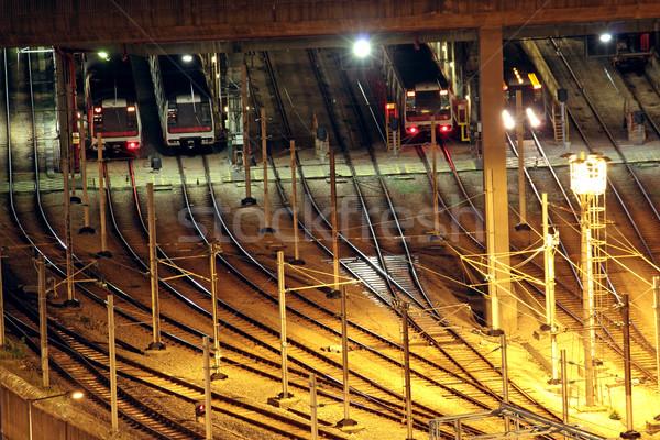 Train tracks in hongkong by night. Stock photo © cozyta
