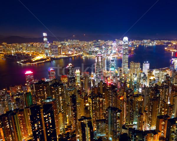 Hongkong Night City biuro budynku miasta świetle Zdjęcia stock © cozyta