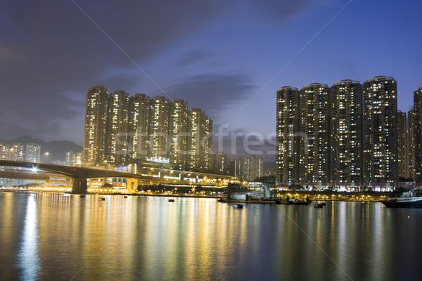 Hongkong publicznych obudowa apartamentu niebo wody Zdjęcia stock © cozyta