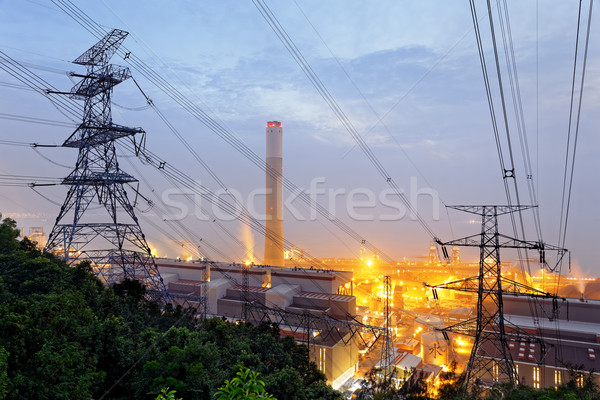 petrochemical industrial plant at night  Stock photo © cozyta