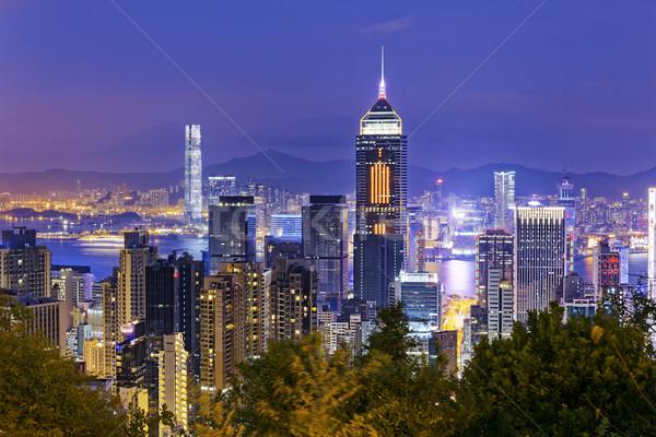 Hongkong Night City miasta centrum noc działalności Zdjęcia stock © cozyta