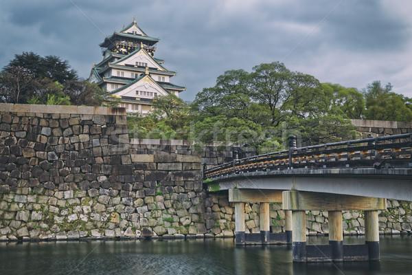 Foto stock: Osaka · castelo · pôr · do · sol · Japão · ponto · de · referência · unesco