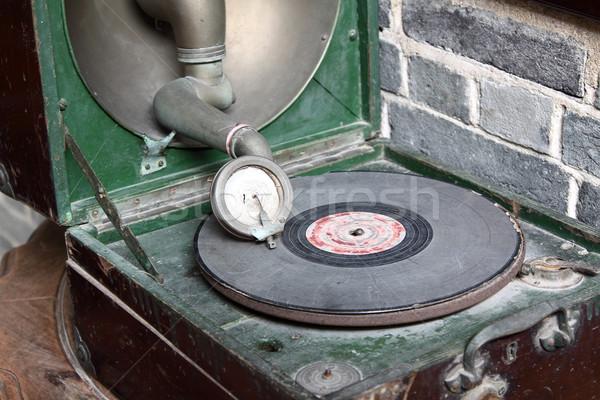 Vintage analoog draaitafel zeventig technologie retro Stockfoto © cozyta