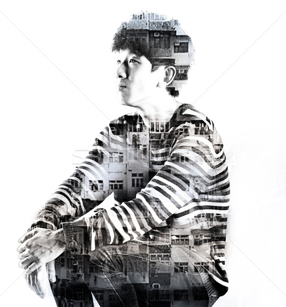 double exposure asian man and city buildings Stock photo © cozyta