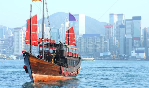 Hongkong kacat csónak tenger napfelkelte kínai Stock fotó © cozyta