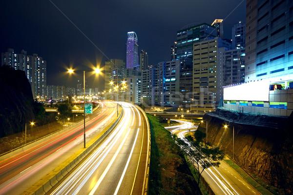 traffic night and big advertising block Stock photo © cozyta