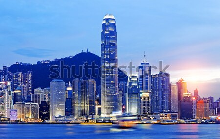 Stock photo: Magic hour of Victoria harbour, Hong Kong