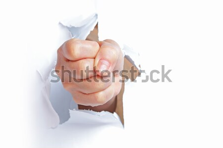 hand break through the paper with the thumb up  Stock photo © cozyta