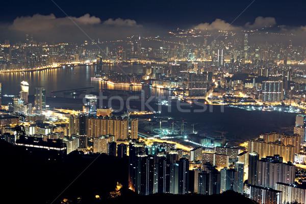 Hongkong Night City mieszkaniowy niebo drzewo budynku Zdjęcia stock © cozyta