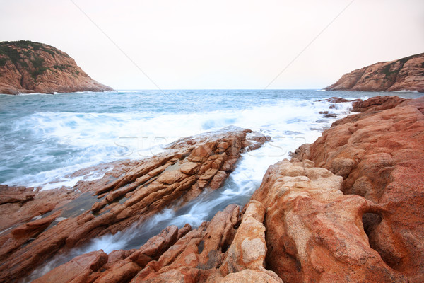 Beautiful seascape. Sea and rock at the sunset. Nature compositi Stock photo © cozyta