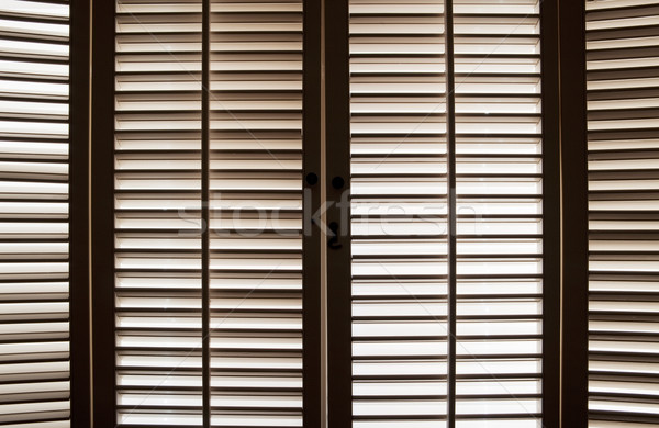 Fából készült ablak zsalu fényes fa otthon Stock fotó © CrackerClips