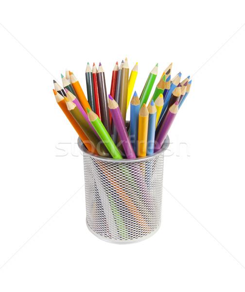 Színes ceruzák fotó tárgy csésze tele Stock fotó © CrackerClips
