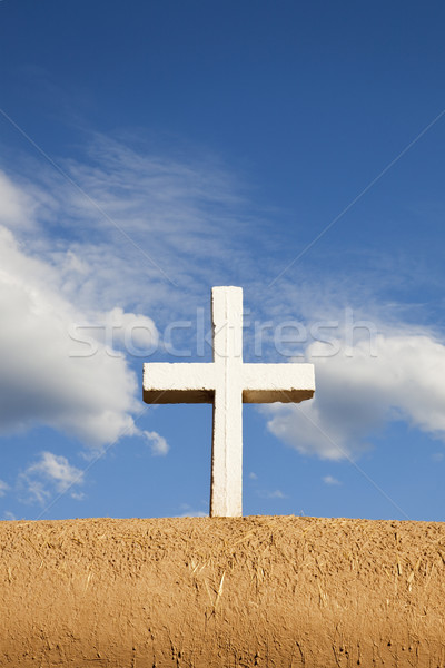 White Cross on Adobe Wall Stock photo © CrackerClips