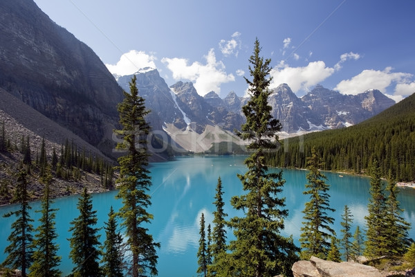 堆石 湖 公園 空 雲 風景 ストックフォト © CrackerClips