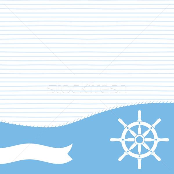 船 ベクトル ハンドル バナー 空白 文字 ストックフォト © creativika