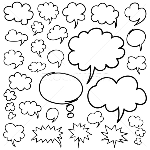 Hand Drawn Speech Bubbles and Thought Clouds Design Elements Stock photo © creativika