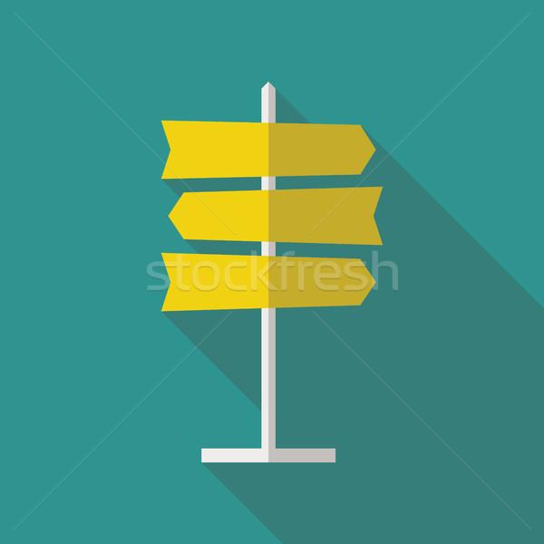 Road Sign Flat Icon Stock photo © creativika