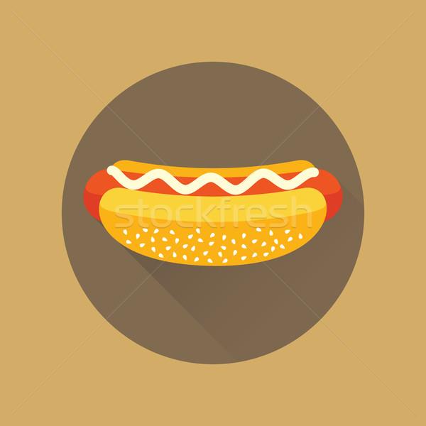 Hot dog vettore icona cerchio maionese Foto d'archivio © creativika