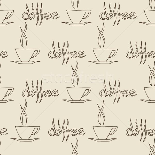 Stock photo: Coffee Cups Seamless Pattern