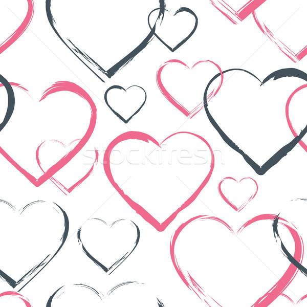 Cuori diverso rosa grigio contorno Foto d'archivio © creativika