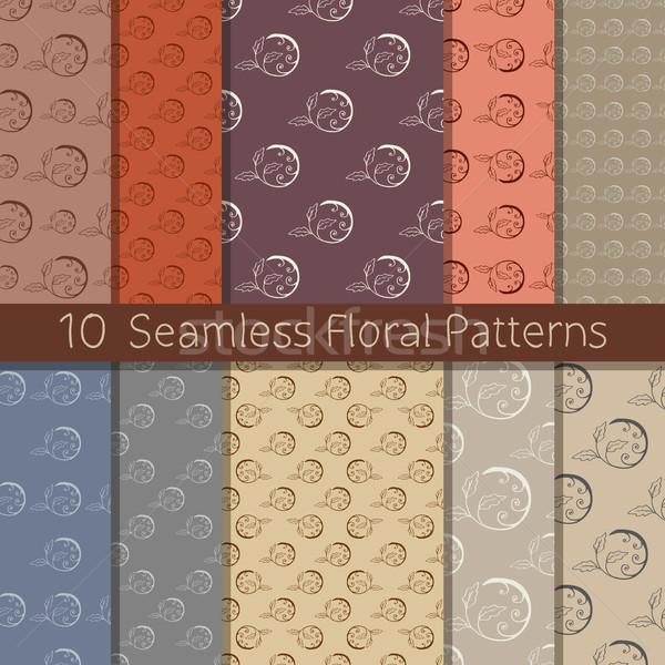 Kézzel rajzolt virágmintás végtelen minta szett 10 végtelenített minták Stock fotó © creativika