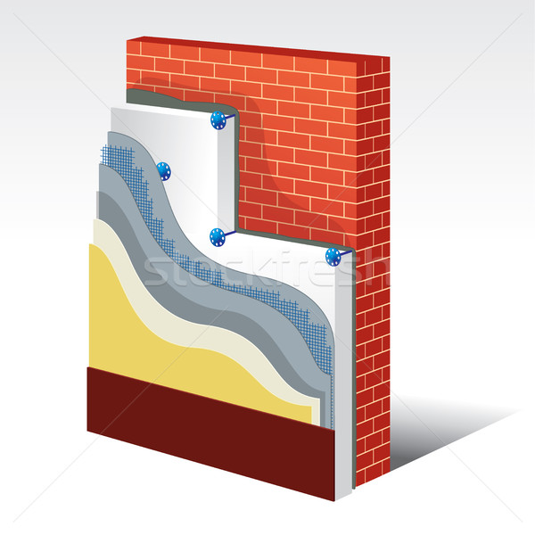 Polystyrene Thermal Insulation Layered Scheme Stock photo © creativika